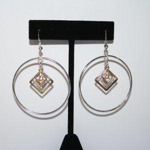 Silver and gold hoop dangle earrings